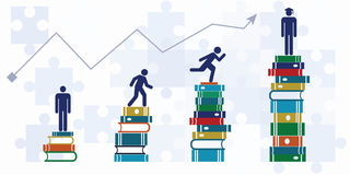 Education steps horizontal. Vector illustration of horizontal banner with student growth chart climbing up to higher level with help of books / graduating from Royalty Free Stock Photos