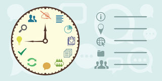 Project clock horizontal. Vector illustration of horizontal banner for work timing concept and project writing and implementation process with a big clock Stock Photo