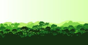Vector illustration of horizontal panorama tropical rainforest in silhouette style with trees and mountains, jungle stock illustration