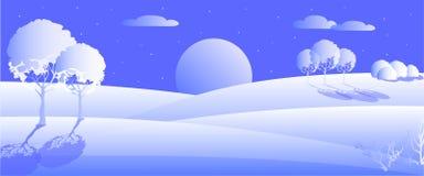 Vector illustration of horizontal winter landscape, flat design stock illustration