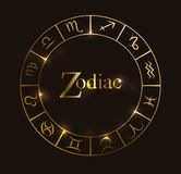 Vector illustration with Horoscope circle, Zodiac symbols and abstract elements. Gold elements stock illustration