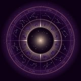 Vector illustration with Horoscope circle, Zodiac symbols and astrology constellations on the starry night sky background with geo royalty free illustration