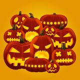 Vector illustration of horror Halloween pumpkin lanterns with different faces carved. Vector illustration of horror Halloween pumpkin lanterns with different Royalty Free Stock Image