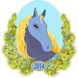 Vector illustration of a horse Christmas Stock Photo