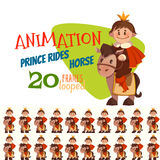 Vector illustration of horse with prince in flat style Stock Photography