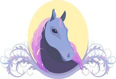 Vector illustration of a horse's head in the frame Stock Photography