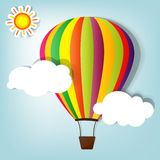 Vector illustration with hot air balloon. In the sky Stock Images