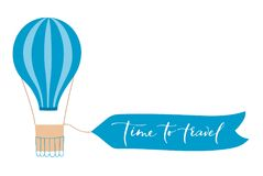 Vector illustration of hot air balloon with banner. Vector illustration of bright hot air balloon with banner for lettering. Isolated flat cartoon air balloon Royalty Free Stock Photos