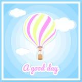 Vector illustration of a hot air balloon, clouds. Beautiful, colorful balloon, hot air balloon. Stock Photos