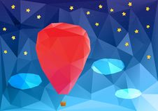 Ballon at night, poplygonal vector illustration Stock Photo