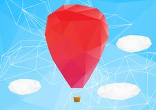 Hot air ballon, poplygonal vector illustration Royalty Free Stock Photos