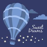 Vector illustration of hot air balloon on the sky Stock Photos
