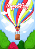 Vector illustration of a hot air balloon, trees, clouds. Beautiful, colorful balloon, hot air balloon. Greeting card, poster. Stock Images