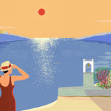 Vector illustration of a hot day at the seaside with a view of t Stock Photos