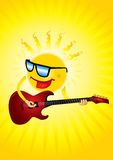 Vector illustration of Hot sun with a guitar Stock Images