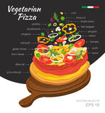 Vector illustration of hot Vegetarian Pizza on wooden board. Falling ingredients. Traditional Italian recipe. Infographic Royalty Free Stock Images