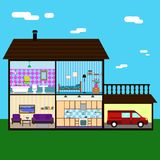 Vector illustration of house in cut view with room interiors, domestic lifestyle concept vector illustration