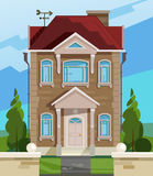 Vector illustration of house. English house facade. Colorful Flat Residential House. Illustration of a cartoon house in Stock Photo