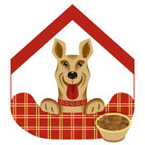 Vector illustration  of house or hotel for dogs. Royalty Free Stock Images