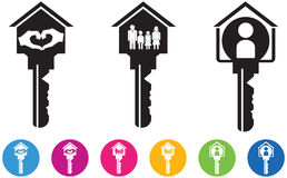Vector illustration of House and key icons and buttons set in fa. Mily, information, love hand gesture. The idea of design related with real estate, family Royalty Free Stock Images