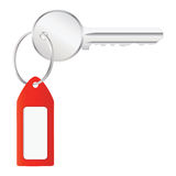 Vector illustration of house key with label Stock Images