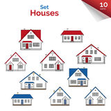 Vector illustration. House projects in white, red, grey and blue colors. Vector houses: cottage and two-storey houses. Real estate. Residential property Stock Photography