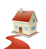 Vector illustration of house with red carpet road. This is file of EPS10 format vector illustration