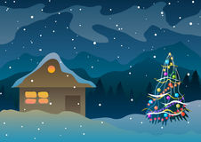 Vector illustration. House in the snow and mountains near a Christmas tree. Royalty Free Stock Image