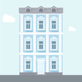 Vector illustration of house. Three-storey house. Brick blue house. Flat house. nApartment house. Old architecture Royalty Free Stock Images