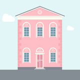 Vector illustration of house. Two-storey house. Brick pink house. Flat house. nApartment house. Old architecture Royalty Free Stock Photos