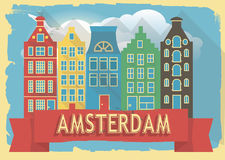 Vector illustration houses of amsterdam Royalty Free Stock Photo