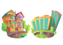 Vector illustration houses 1. Vector illustration of buildings in the city and in the province, or a small town. The old Victorian house, and the new modern high Royalty Free Stock Image