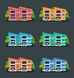 Vector illustration of houses, front view Stock Photography