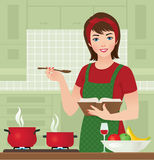 Housewife in the kitchen. Vector illustration of housewife in the kitchen cooking deals Stock Photo