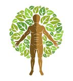 Vector illustration of human, athlete surrounded by eco green le Royalty Free Stock Photography