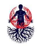 Vector illustration of human being created with tree roots. Huma Royalty Free Stock Images