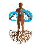 Vector illustration of human being, strong athlete with tree roo. Ts and limitless symbol composed from water splash. Human water consumption idea Royalty Free Stock Photography