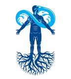 Vector illustration of human being, strong athlete with tree roo. Ts and limitless symbol composed from water splash. Human water consumption idea Royalty Free Stock Image
