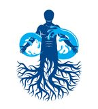 Vector illustration of human being, strong athlete with tree roo. Ts and limitless symbol composed from water splash. Human water consumption idea Royalty Free Stock Images