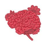 Vector illustration of human brain isolated on white background. Vector illustration of human brain with flowers isolated on white background for medical design Royalty Free Stock Photography