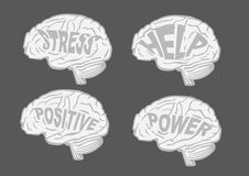 Vector illustration of human brains with messages Royalty Free Stock Photos
