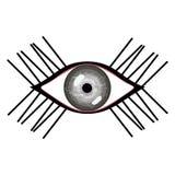 Vector illustration of human eye with eyelashes. Stylized female grey eye with glares Royalty Free Stock Photo