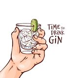 Vector illustration of human hand with gin and tonic cocktail in glass with ice cubes and slice of lime. vector illustration