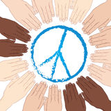 Vector illustration human hands with different skin tones in circle around sign of peace. World peace Royalty Free Stock Image