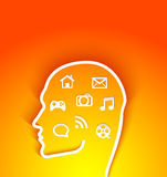 Vector illustration of  human head with multimedia Royalty Free Stock Photos