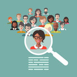 Vector illustration of human resources management, staff research, head hunter job with magnifying glass in flat style. Vector illustration concept of human Stock Photography