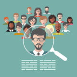 Vector illustration of human resources management, staff research, head hunter job with magnifying glass in flat style. Royalty Free Stock Image