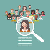 Vector illustration of human resources management, staff research, head hunter job with magnifying glass in flat style. Royalty Free Stock Photography