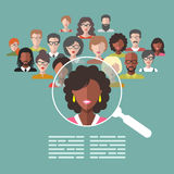 Vector illustration of human resources management, staff research, head hunter job with magnifying glass in flat style. Royalty Free Stock Images