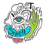 Vector illustration of the 5 human senses. Sight, taste, hearing, smell, touch. Hand drawn style royalty free illustration